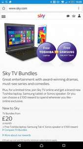 free laptop with sky bundles from £20 pm