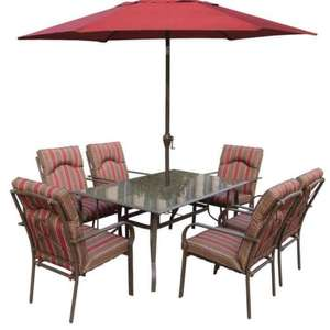 RoyalCraft 152 x 96 cm Amalfi Six Seater Rectangular Dining Table Set with Six Chairs and 2.75 m Burgundy Parasol £139.92 @ Amazon