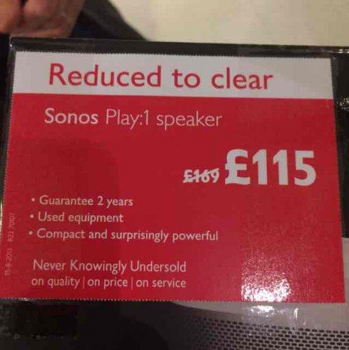 Sonos Play 1 £115 @ John Lewis (Instore)