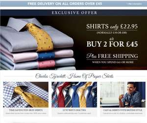 2 Shirts for £45 plus Free Delivery @ Charles Tyrwhitt