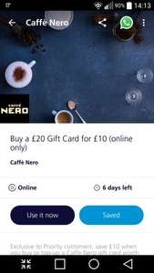 Caffè Nero - Buy a £20 Gift Card for £10 (online only) @ O2 Priority