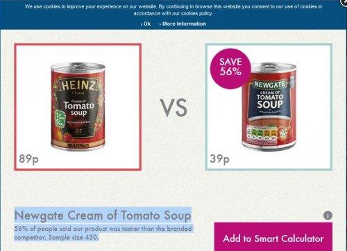 Newgate tomato soup 400g @ lidl tastier than heinz..