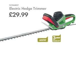 FLORABEST 600w 60cm electric Hedge Trimmer £29.99 with 3yr warranty @ LIDL