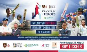 Twenty Twenty Cricket Match at Kennington Oval Heroes vs Rest of the World XI £20