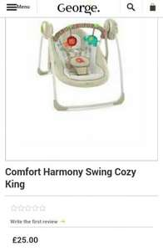 Baby Swing - Comfort Harmony - Asda £25