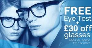 Free Eye Test + £30 off glasses when you spend £100 or more @ Optical Express