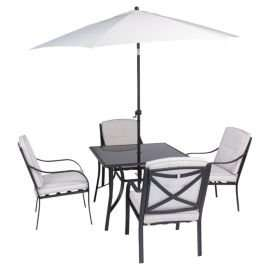 Cambridge 6-piece Metal & Glass Garden Furniture Set - £125 + £7.95 delivery (or free with Delivery Saver) @ Tesco Direct