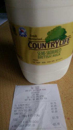Cheap Milk: 4 Pint @ 79p Semi Skimmed @ PAK Foods