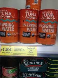 Oriental & Pacific Skipjack Tuna chunks in spring water 4 cans £1.84!! Found in Tesco Express Bilston.