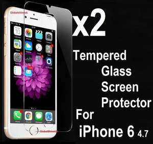 2 x TEMPERED GLASS iPhone 6 SCREEN PROTECTORS  99p @ globalshineuk / ebay