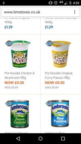 Pot Noodle 90g 50p @ B&M