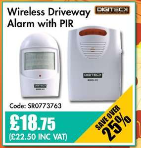 DIGITECK (SECURITY)  615  Wireless PIR Driveway Alarm, White £22.50 @ CPC