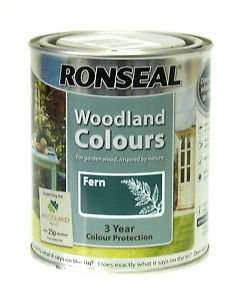 Ronseal Woodland colours wood paint 2.5l £3.99 instore @ Home Bargains