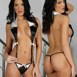 Sexy Secretary Uniform Temptation Lapel One-Piece Lingerie Sleepwear Underwear - Black + White £3.23 DELIVERED @ DX.COM