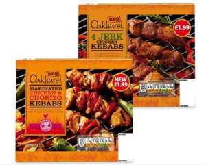 Aldi chicken kebabs 300g available in chicken and chorizo or jerk chicken 99p
