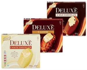 Aldi deluxe choc  sticks, avail in almond, white chocolate and milk chocolate,3 pack 89p