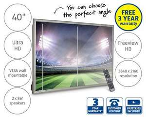 """4K 40"""" Ultra HD TV - Freeview HD - 3 yr Warranty. Instore Aldi £299 from Sunday 13th Sept"""