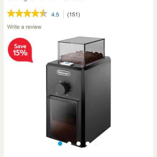 DeLonghi KG79 Burr Coffee Grinder £22.56 @ Tesco