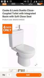 Cooke & Lewis Duetto Close-Coupled Toilet with Integrated Basin with Soft Close Seat £100 @ B&Q