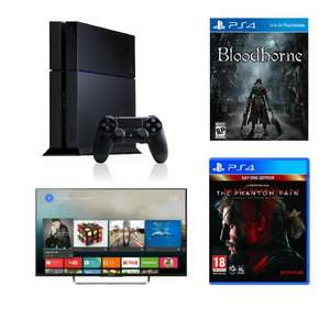 Sony PS4 500gb Black Console + Sony KDL50W805CBU 50 Inch Smart 3D 1080p LED TV Freeview HD (2015 Model) + Bloodborne PS4 + Metal Gear Solid 5 Phantom Pain PS4 @ Tesco - £824
