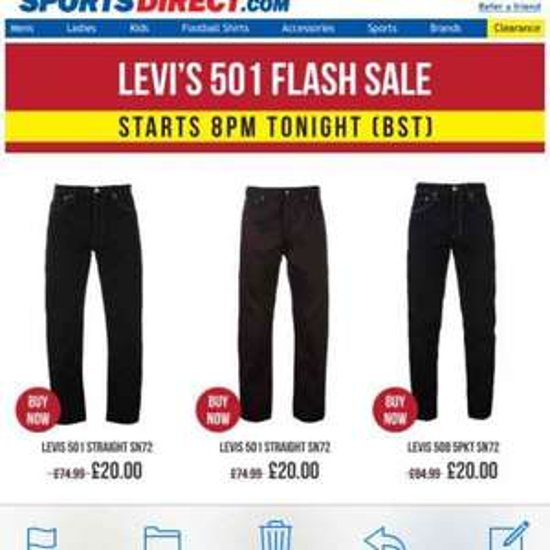 Levi's Jeans £20 Flash Sale + £4.99 p&p @ SportsDirect.com