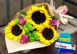 British Summer Bouquet including free pop vase, £9.99 including delivery which is usually next day delivery if not at weekend. @ Home Bargains