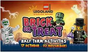 Brick Or Treat - Halloween event  @ Legoland Holidays - 2 days tickets, 1 night in hotel with breakfast from £44pp (Some even cheaper)
