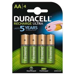 Duracell Duralock Precharged Rechargeable AA Batteries (2400mAh) - 4 Pack £6.39 @ 7dayshop