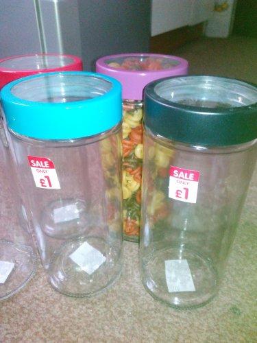 Coloured lid glass jar 22cm, 1.2l £1 @ B&M