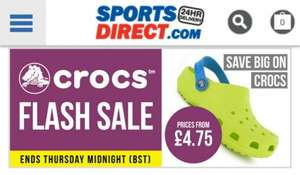 Crocs flash sale Prices from £4.75 at Sports Direct (+£4.99 to C&C or Delivery)