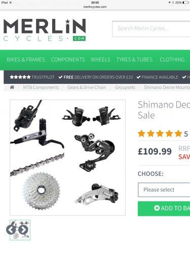 Shimano Deore Mountain Bike Groupset Sale Brakes, shifters, front/rear dérailleur chain, cassette £109.99 @ merlin cycles Monday deals