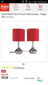 2 Red Bedside Cabinet Lamps £11.24 @ Argos