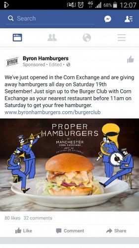 FREE Hamburgers all day at Byron Hamburgers, Corn Exchange, Manchester Saturday 19th September