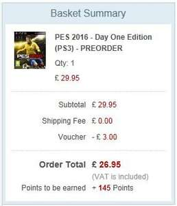 PES 2016 Preorder PS3 XBOX 360 Rakuten - The Game Collection - Use Sep10 Code for £26.95 Plus 145 Points