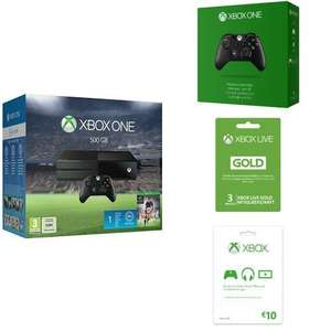 Xbox One 500GB Fifa 16 Bundle + 1 month EA Access, One Extra Wireless Controller (3.5mm Jack) + 3 months Gold membership + 10 Euro Xbox Live card £280.61 Delivered @ Amazon Germany