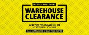 Evans Cycles Warehouse Clearance. Up To 50% off Bikes & 70% off Clothing. In-Store