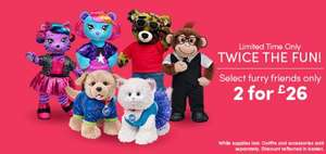 Buildabear - Two Bears for £26 (£21 with code) - saving up to £25 depending which bears you choose.. (£3.45 postage)