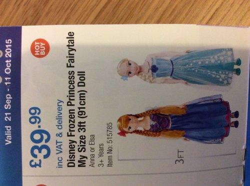 Disney Frozen Princess My Size 3ft Doll £39.99 @ Costco