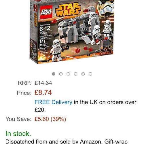 lego star wars imperial troop transport £8.74 (Prime) £12.73 (Non Prime) @ Amazon