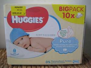 Huggies Pure 10 Packs (560) Baby Wipes.  Reduced to £4.50 (only 45p per pack) @ Asda
