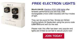 British Cycling free lights with subscription
