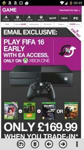 Xbox one for £169.99 + fifa 16 +one game + now tv pass @ game when u trade in xbox 360 or ps3 + 5 games
