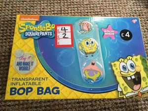 spongebob inflatable bop bag £2  in store twenty one