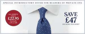 ALL CHARLES TYRWHITT SHIRTS FOR £22.95 AND FREE DELIVERY TOO
