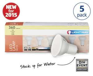 LED GU10 bulbs 5 Pack £9.99 @ Aldi from Sunday 27th September