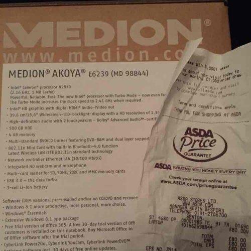 Medion Akoya E6239 Laptop  £80 @ Asda