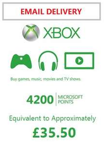Xbox Live 4200 Microsoft Points (Approx £35.50 Value) @ 82% Face Value £28.99 Rakuten/MSPoints (All In Price £26.02)