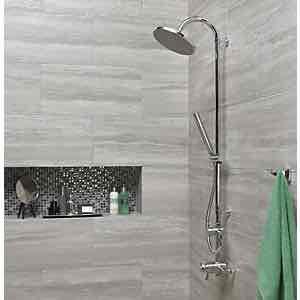 Wickes Eden Grey Glazed Porcelain Floor & Wall Tile 300x600mm rrp £19.98+ £9.99 @ Wickes