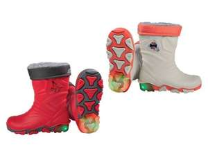 Flashing light wellies at Lidl and kids' waterproofs £7.99
