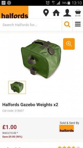 Halfords Gazebo Weights £1